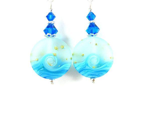 Blue Wave Earrings Ocean Earrings Turquoise by GlassRiverJewelry