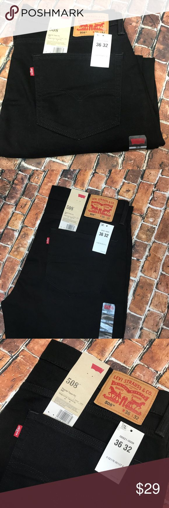 """Black Men's Levi Jeans New with Tags Levi's Black Levi 508 Jeans. New with tags!   Brand: Levi  Size: 36x32  Measurements:  waist 19.5"""", rise 11"""", Inseam 31"""".   Shipping: I normally ship in one day (maybe 2).   Please check out all the pictures above because they are part of the description. Thank you for looking and I invite you to check out my other listings for more deals! Levi's Jeans Relaxed"""