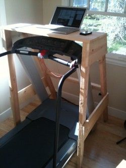 Treadmill desk >> My husband and I talk about doing this all the time! Love the idea of working out while working!