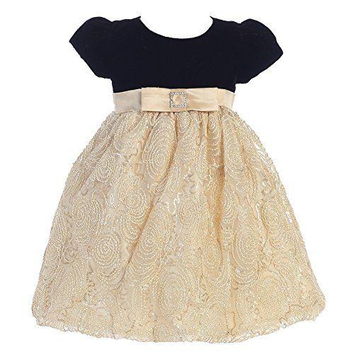 f4bfe25d207b Little Girls Black Gold Glitter Velvet Corded Tulle Christmas Dress 2T-6