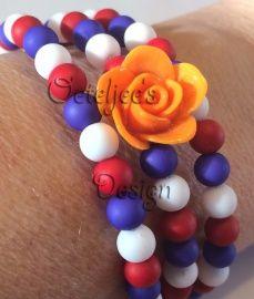 Geweldige armband rood wit blauw op spiraal met Holland bedel. Perfect te gebruiken tijdens Koningsdag, WK voetbal etc. Past altijd!