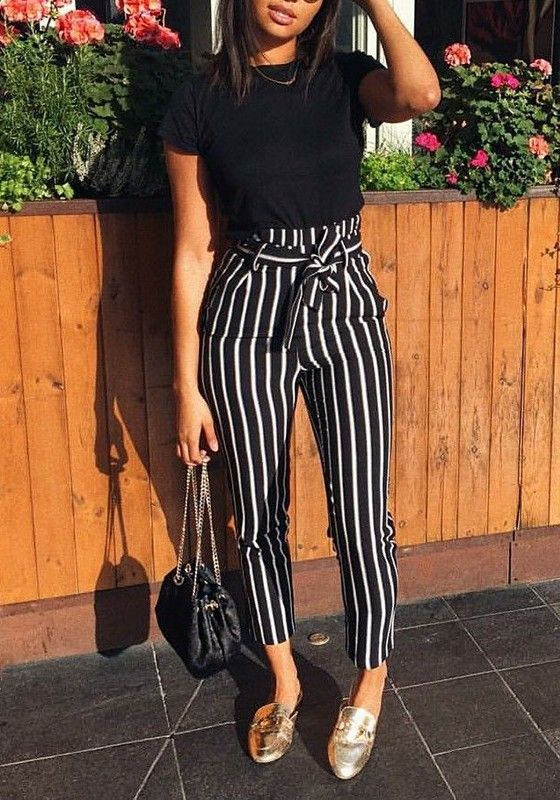 Black White Striped With Belt Loop High Waist Fancy Pants Asymmetric Pants   – Garderobe