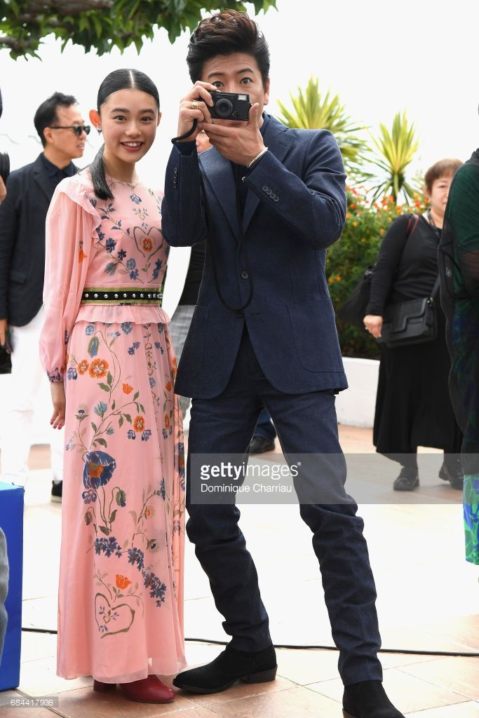Hana Sugisaki and Takuya Kimura attend the 'Blade Of The Immortal (Mugen No Junin)' photocall during the 70th annual Cannes Film Festival at Palais des Festivals on May 18, 2017 in Cannes, France.