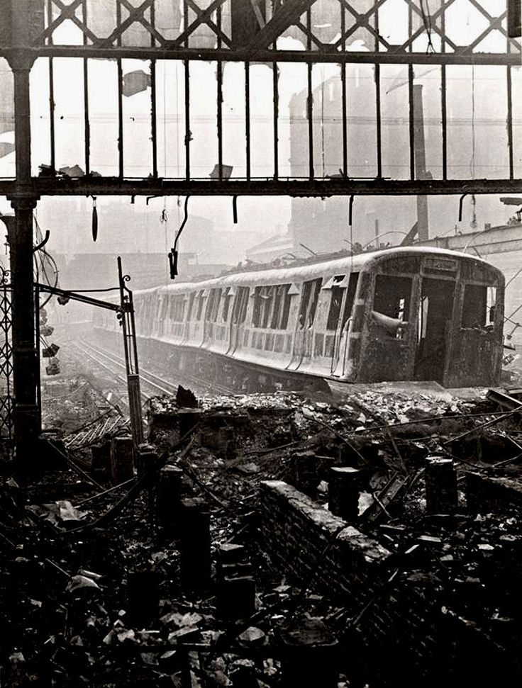 Wartime view of the Metropolitan line platforms at Moorgate station, London, showing the devastation caused by air raids