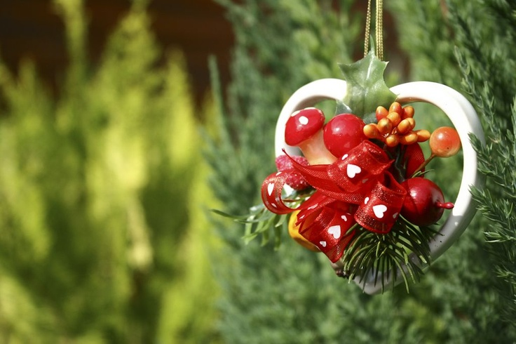 Christmas heart hanging - nice decoration of the family tree during xmas