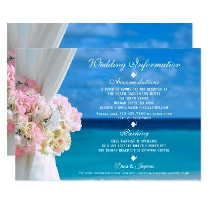 Modern Floral Blue Ocean Beach Wedding Information Card - wedding shower gifts party ideas diy cyo personalize