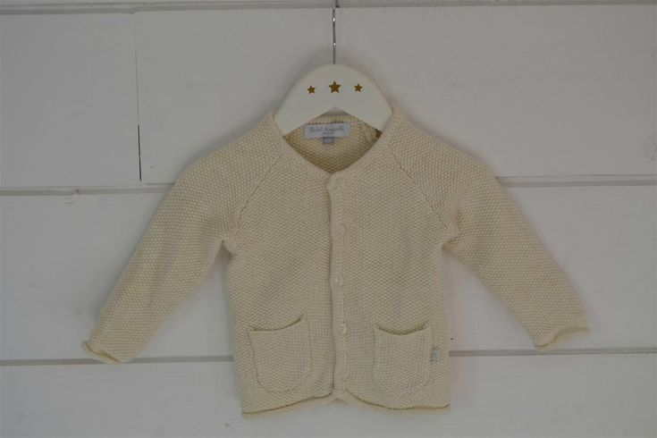 Gilet en coton tricoté au point de riz, écru et lurex doré Cadet Rousselle - 6M