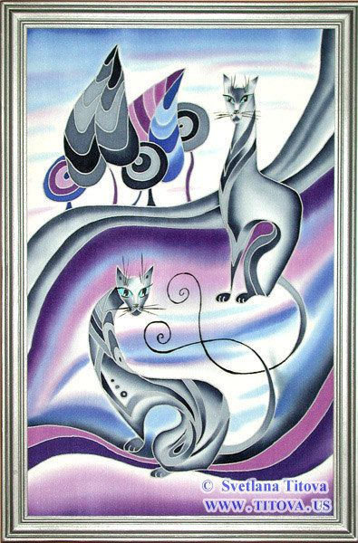 Title : Cats. Original Silk Painting by от MagicSilkPainting