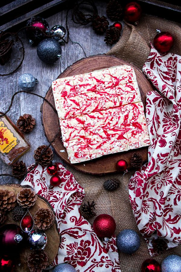 Fireball Cinnamon Whiskey Christmas Fudge with Candy Cane and Red Peppermint Swirl