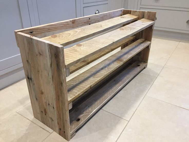 Reclaimed pallet wood shoe rack, easily my most popular item. Simple yet unique, with a great rustic look