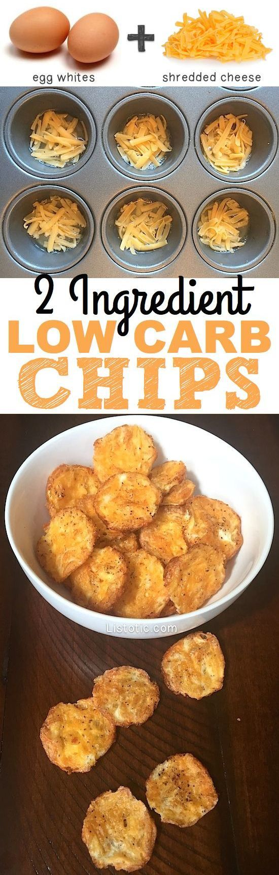 2 Ingredient chips! The perfect low carb, easy and healthy snack recipe! Listotic.com