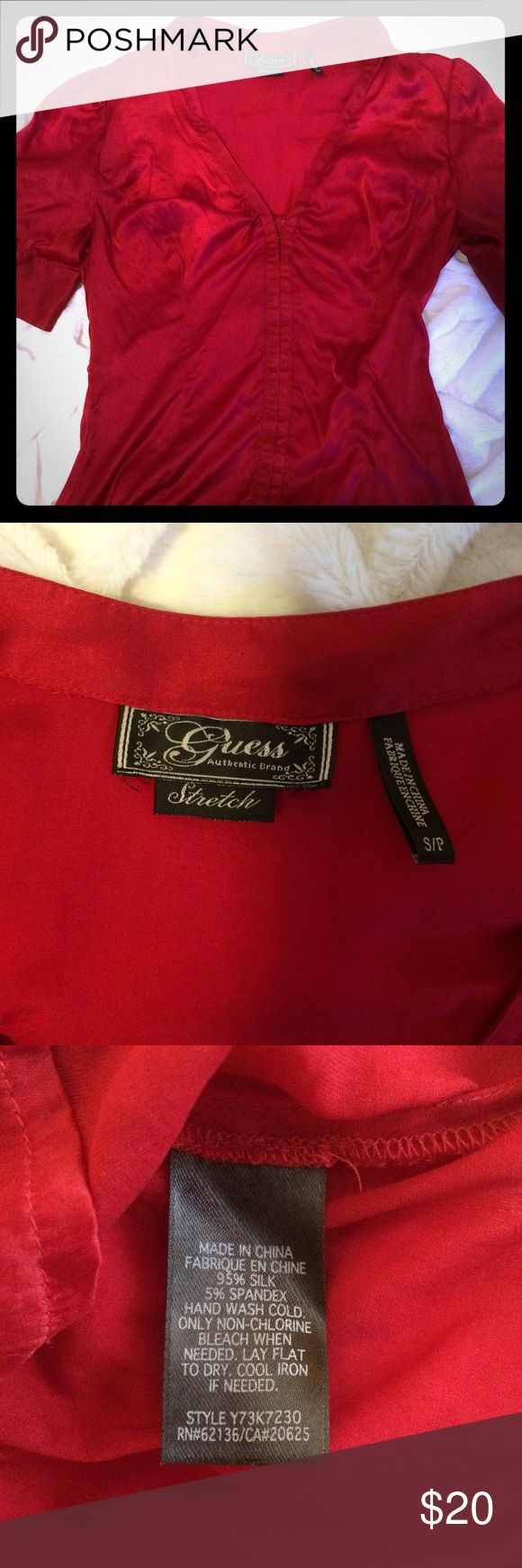 ONE DAY SALE Guess 1/2 sleeve silk top Bright red, 98% silk Guess top. Corset closure on front. V neck. Guess Tops Blouses