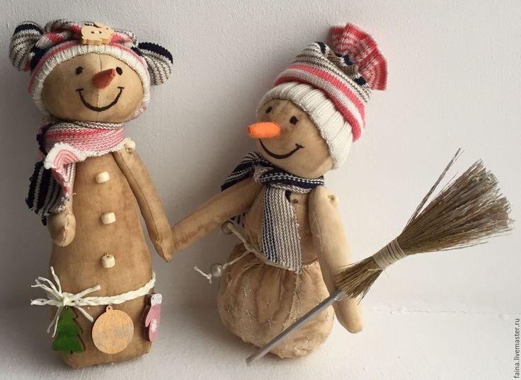 Кофейные снеговики: текстильная игрушка, новый год, ручная работа,  сделано своими руками