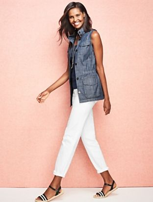 Talbots - Safari Vest - Chambray | | Misses Discover your new look at Talbots. Shop our Safari Vest - Chambray for stylish clothing and accessories with a modern twist at Talbots