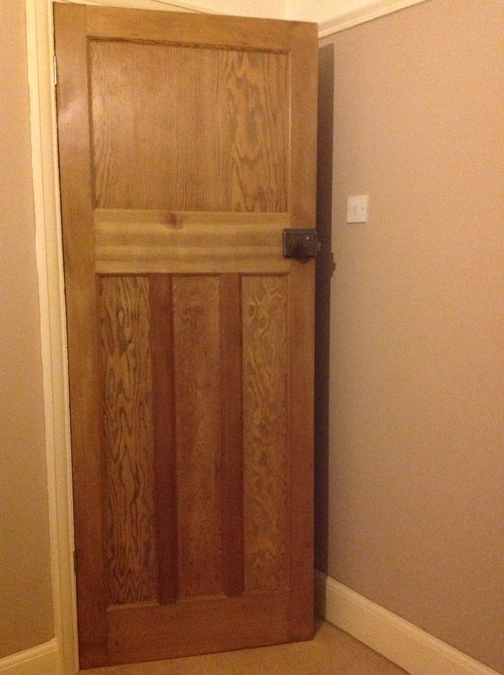 1 over 3 1930's door stripped of white paint, sanded and given a satin wood varnish finish. Bakelite door knob cleaned using wax and door furniture cleaned and lacquered : )