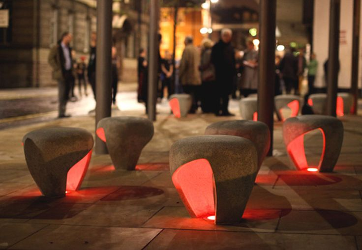 Illuminated, stone seating