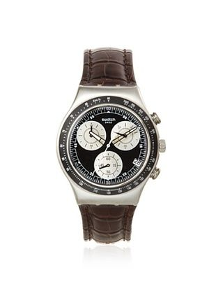 Swatch Men's YCS572 Brown/Black Leather Watch