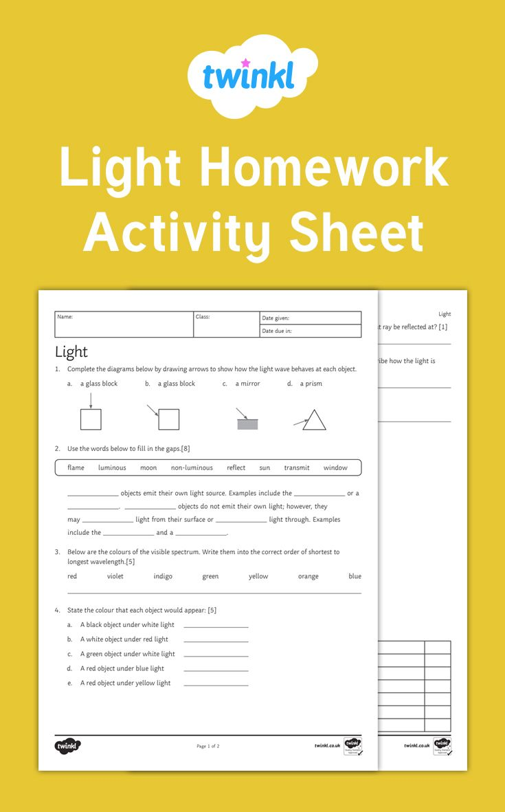 A great homework or lesson activity on light.