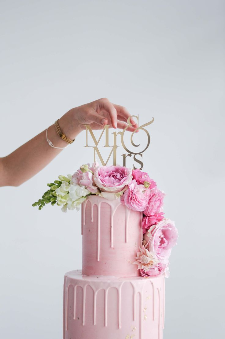 Pink Mr & Mrs Wedding Cake by LionHeart