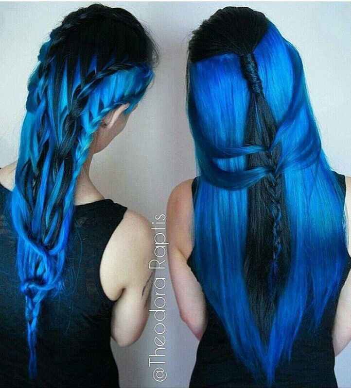 Royal blue dyed hair color