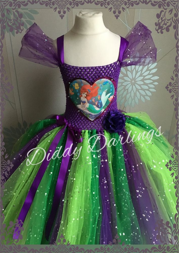 Sparkly Ariel Tutu Dress Little Mermaid Tutu Dress Costume Party Princess Fancy #DiddyDarlings #CasualFormalParty