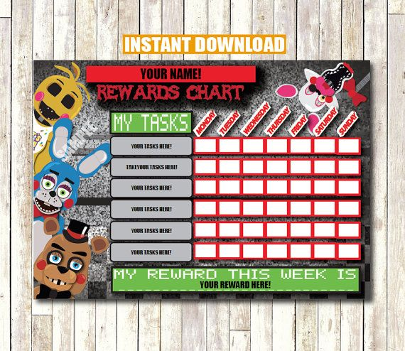 five nights at freddy u0026 39 s rewards chart instant download printable