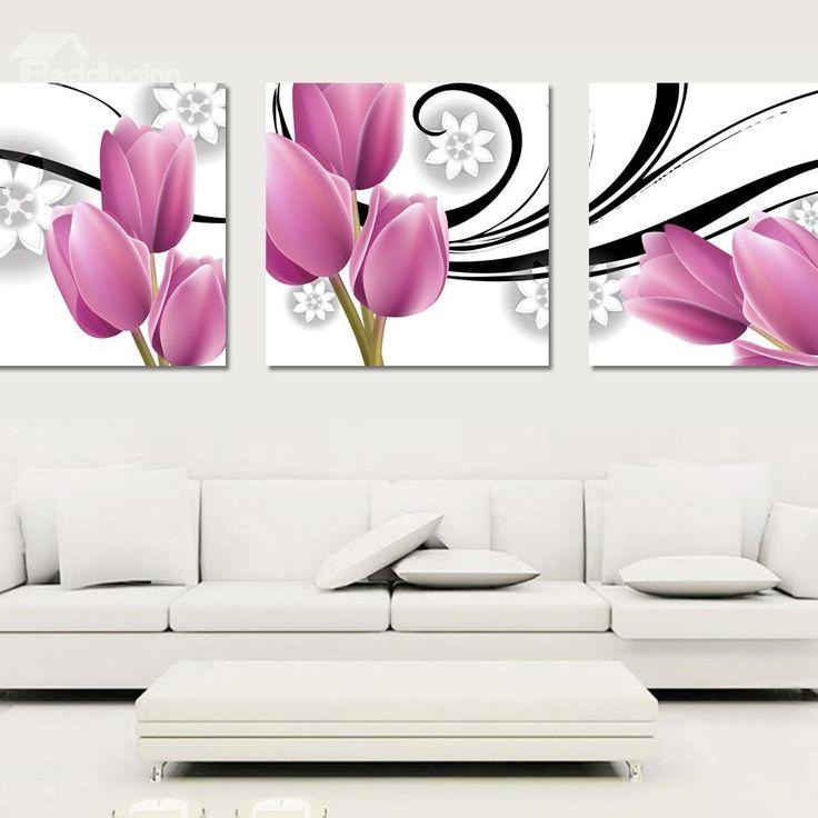 New Arrival Pink Elegant Tulip Cross Film Wall Art Prints, buy at there: www.beddinginn.com click more: www.beddinginn.com