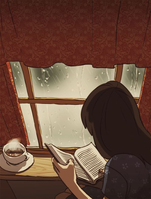 Imagem de book, rain, and coffee