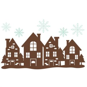 Christmas House Border Silhouette SVG