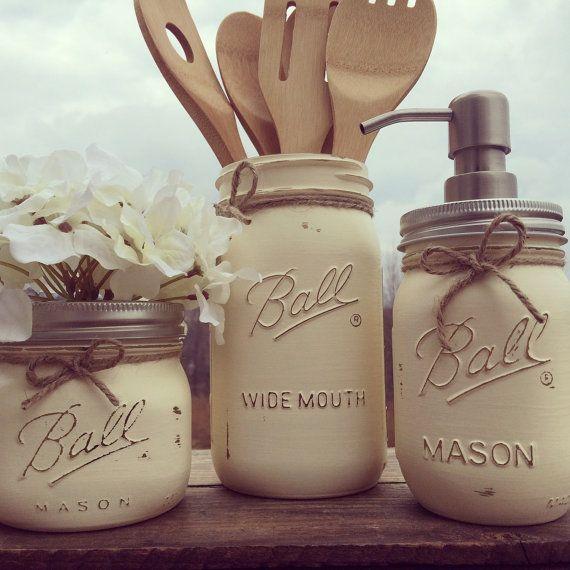 3pc. mason jar kitchen set, mason jars, soap dispenser, farmhouse