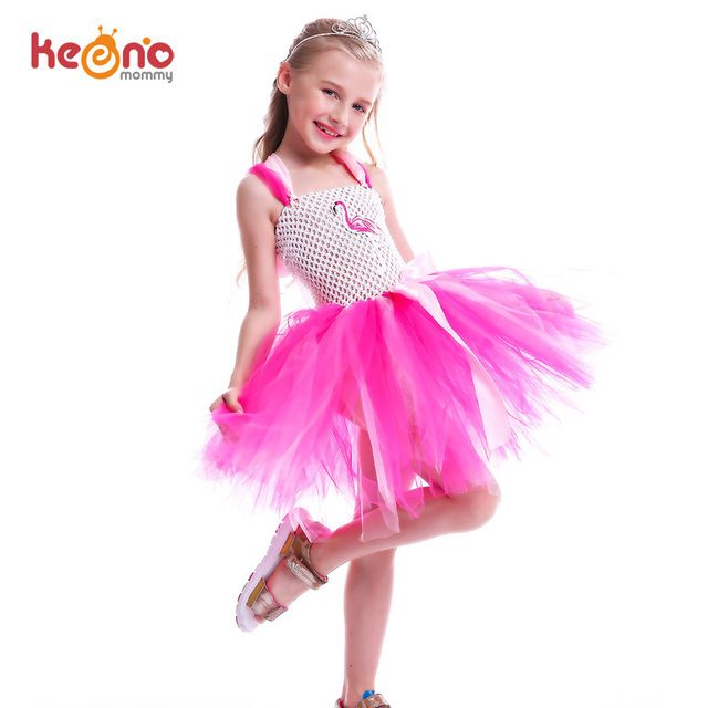 Kids Girls Flamingo Tutu Dress Fancy Summer Birthday Party Dance Outfit Sundress