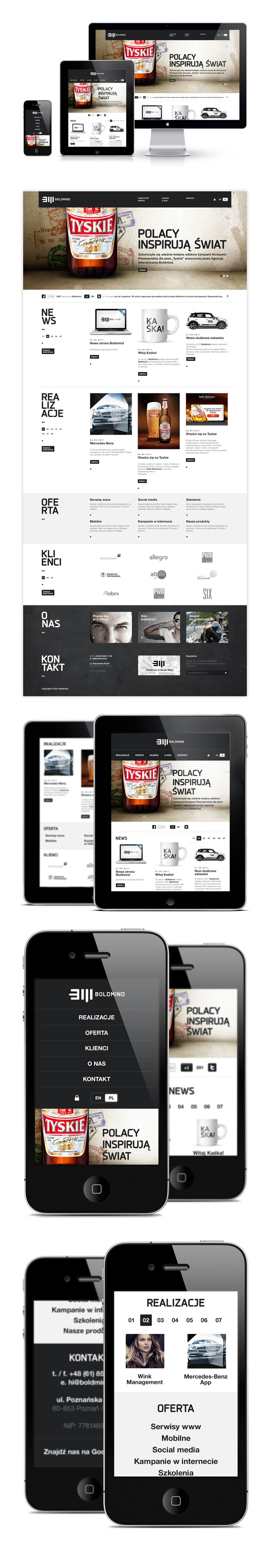"""Boldmind by Maciej Mach - """"This is an example of responsive design I prepared for Boldmind Interactive Agency. The project included browser, tablet and smartphone version of the website."""""""