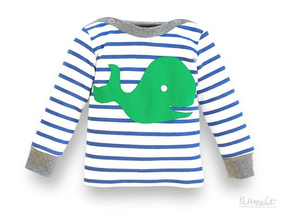 organic baby jumper with appliqué whale dazzling blue striped and handmade of 100% organic cotton by internaht, €35.00