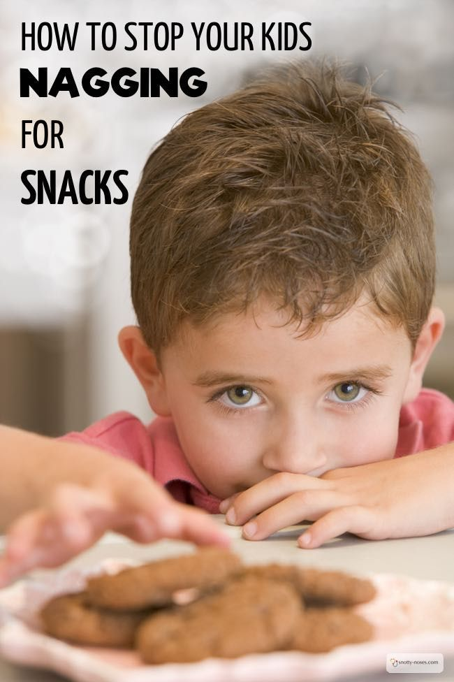 How to Stop Your Kids Nagging for Snacks. Kids nagging for snacks straight after dinner is so frustrating. Establish a healthy eating routine and you'll teach your kids to love healthy food and stop the nagging for snacks.