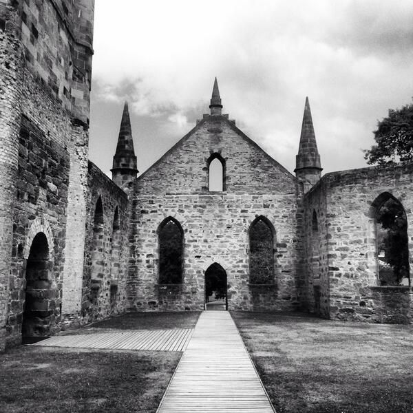 A moody and atmospheric pic of the old Convict Church at Port Arthur Historic Site from tweeter @tara_papworth