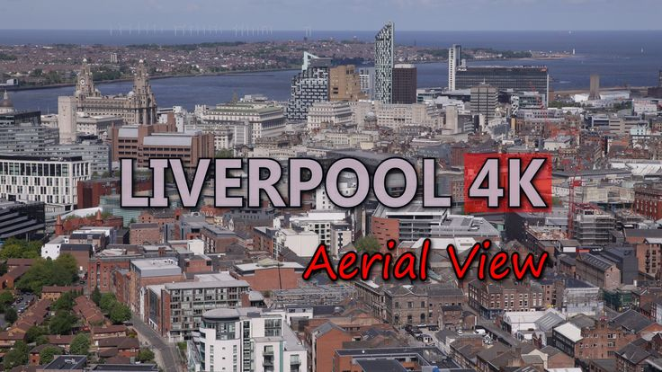 Ultra HD 4K Liverpool England Aerial View Travel Sights UK City Skyline Day UHD Video Stock Footage