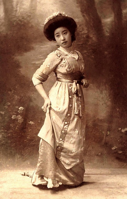 1905 Meiji Era Portrait Of A Japanese Girl Experimenting With Western Dress Fashion Japan