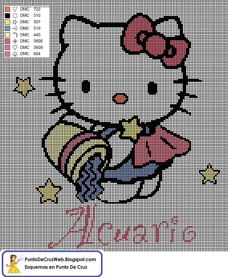Horoscopo hello Kitty Acuario En Punto de Cruz. www.puntodecruzweb.blogspot.com