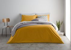Solar 180tc 100% Cotton Reversible Double Bed Set, Mustard/Mist Grey from Made.com. Yellow/Grey. Express delivery. Reversible Bed Set..