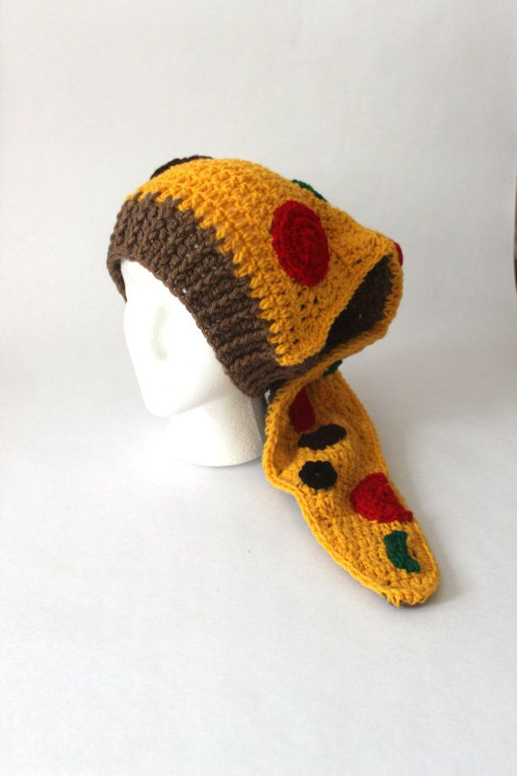 Crochet Pizza Hat - Handmade - Ready to Ship - Food Hat, Mushrooms, Pepperoni, Toppings, Crochet Food Hat, Pizza, Green, Yellow, Brown Cute Check out this item in my Etsy shop https://www.etsy.com/listing/491815961/crochet-pizza-hat-handmade-ready-to-ship