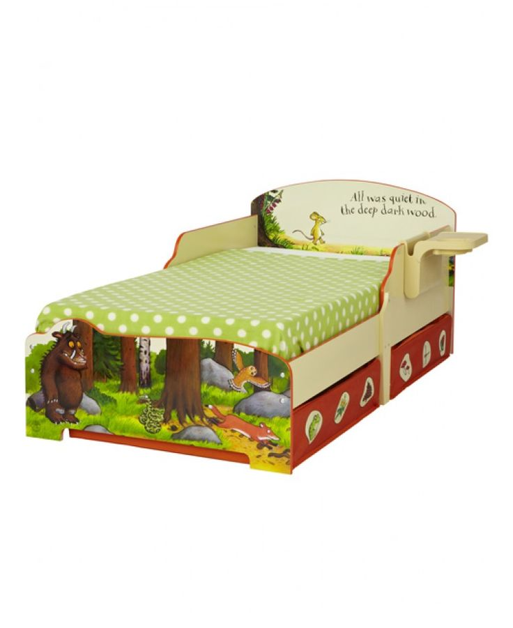 This delightful toddler bed will make going to bed your child's favourite part of the day! It's ideal for helping your child in the next stage of their bedtime routine thanks to the protective side panels that prevent bedtime tumbles. The toddler bed also has two printed fabric under bed storage drawers for tucking away their toys and games and a detachable shelf, all set up to hold night time drinks secure, as well as a handy cubbyhole to keep their favourite bedtime stories.