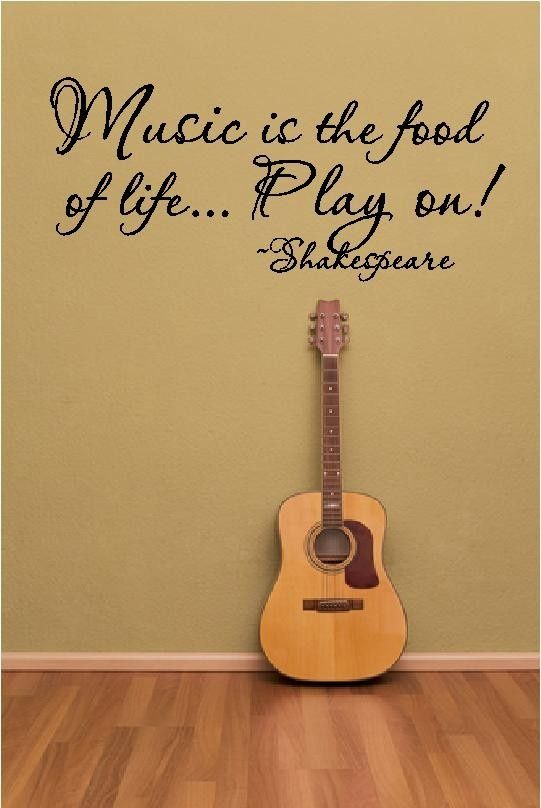Music Is The Food, Play on -- Vinyl lettering Wall Decal Wall Art Sticker Home Decor. $15.00, via Etsy.