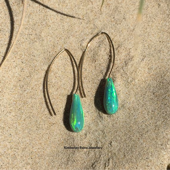 Emerald Green Opal Earrings on 9ct Yellow Gold by KimberleyRaine