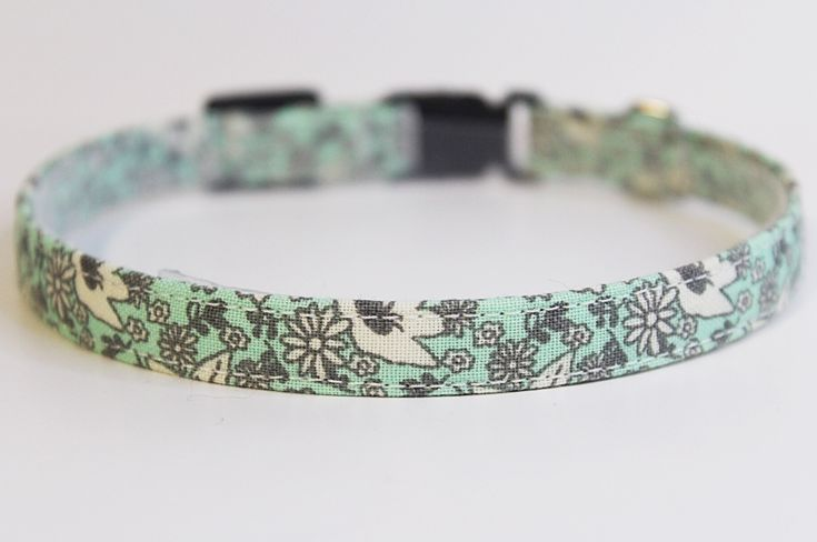 Beautiful handmade sea foam green floral cat collar by PurrsonalCreations on Etsy
