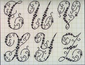 Милые сердцу штучки: Вышивка крестом: Алфавит из французского альбома XIX века (6)