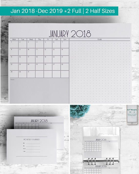 Plan your entire month on one page with this 2018-2019 Printable Mo1P Wide/Landscape Monthly Planner. Fill out the calendar on the left and use the right side to do some extensive planning. Keep your month organized, and your life running as planned.