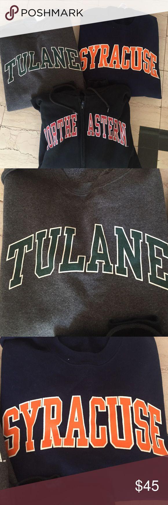 Bundle of college sweatshirts. Great condition. Both Syracuse + Tulane size XL. northeastern size M Jackets & Coats