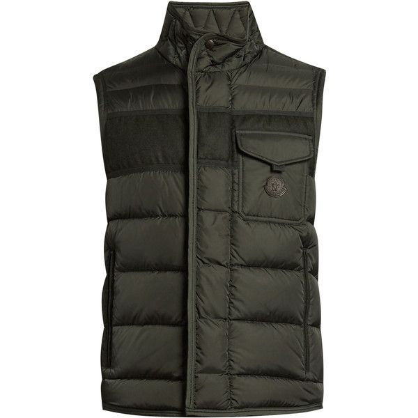 Moncler Athos water-repellent quilted down gilet (2.205 BRL) ❤ liked on Polyvore featuring men's fashion, men's clothing, men's outerwear, men's vests, green, mens padded vest, mens quilted vest, mens green vest, mens insulated vest and mens down vest