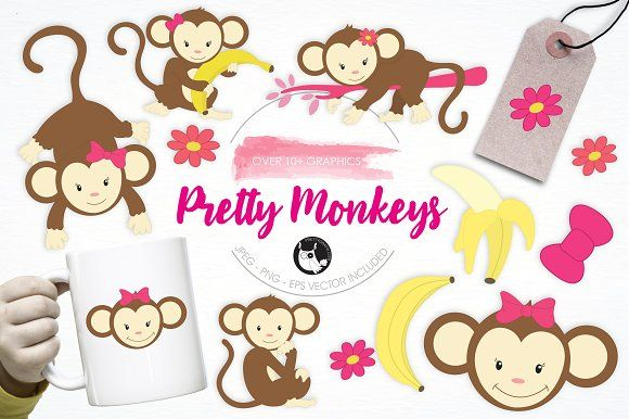 Pretty Monkeys illustration pack by Prettygrafik Design on @creativemarket