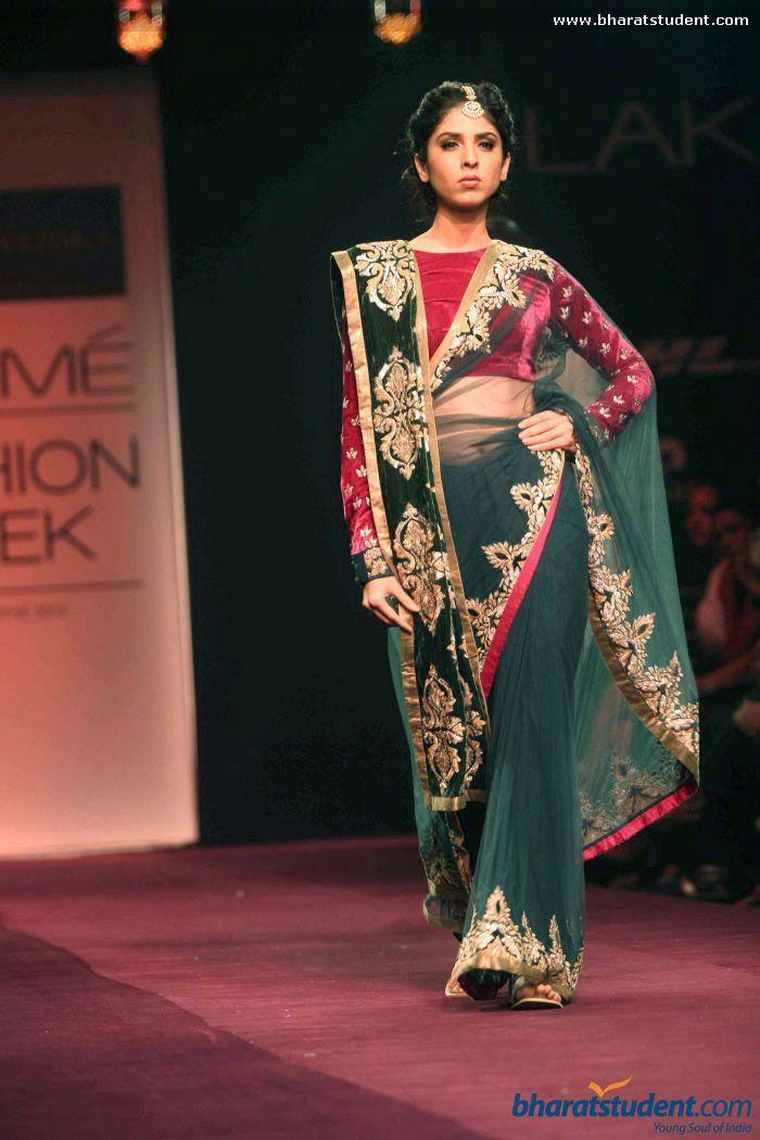 Sari by Shyamal & Bhumika at Lakme Fashion Week Winter / Festive 2013